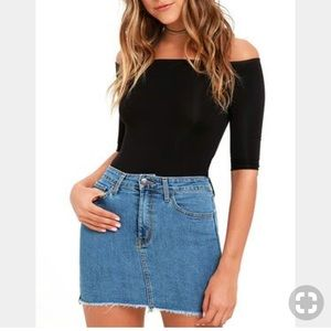 Lulus Pop & Lock It Denim Skirt Medium Wash Small